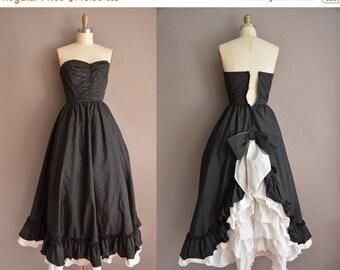 25% off SHOP SALE... 50s tuxedo strapless vintage party dress / vintage 1950s dress