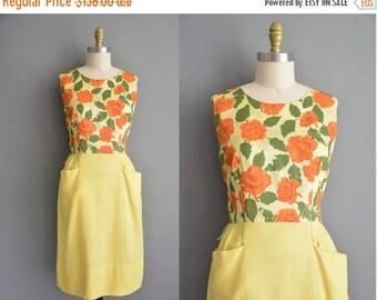 20% OFF SHOP SALE... 50s orange floral vintage wiggle dress / vintage 1950s dress
