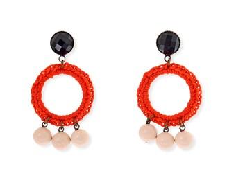 Red Earrings, hippie statement earrings, long stud hoop earrings, handmade crochet jewelry