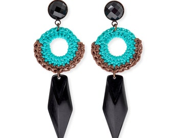 Black Dagger Earrings, Tribal African Ethnic Earrings, Modern handmade Turquoise Earrings, Original statement Jewelry