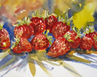 Expressions of Strawberries original berry watercolor painting 9x12 still life Art by Delilah