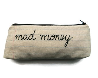 Mad Money Bag - Notebook Paper Fabric - Hand Embroidered - Makeup Bag
