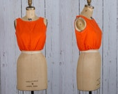 1960s orange crop top | 60s vintage tank
