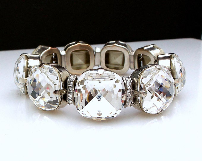 wedding bracelet Bridal prom party bracelet swarovski clear white square cushion cut foil back rhinestone spacer rhodium stretch bracelet