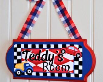 Boy's Door Sign, Cars and Trucks