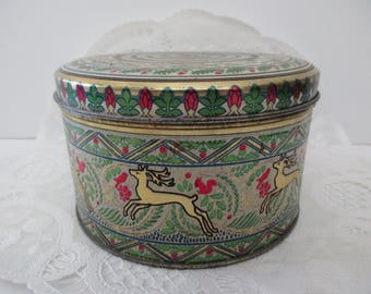 vintage DECORATIVE TIN- Made in England, round, birds, deer, green, red