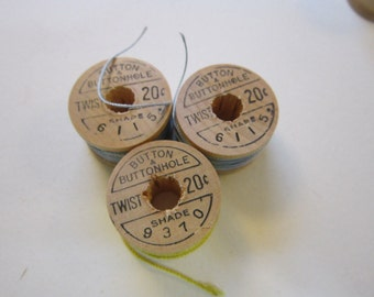3 vintage SILK TWIST bobbins - wood bobbins - Belding Corticelli - shades 6115 and 9370 - blue and yellow