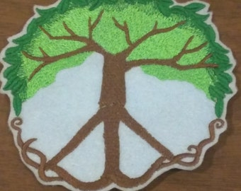 4.5 inch embroidered peace roots tree iron on patch with pale blue felt