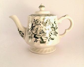 Old Vienna Ironstone Green Teapot, Woods and Sons Burslem England