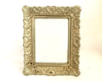 "Small Ornate Metal Picture Frame / 3"" x 4.5"" Gold and Cream Hollywood Regency Frame"