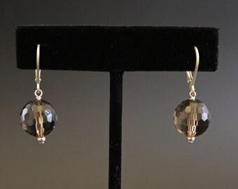 Smokey Quartz and Sterling Silver Drop Earrings