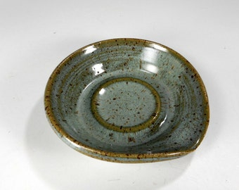Ceramic spoon rest - pottery spoon holder dish - kitchen spoon rest - stoneware spoon dish - pottery spoon rest - blue green glaze