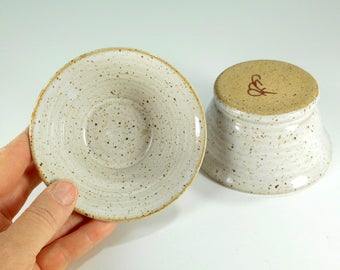 Ceramic dipping  bowls - stoneware pottery salsa prep bowl set of 2 - sushi bowls - ceramic salsa bowls - kitchen prep bowl - white glaze