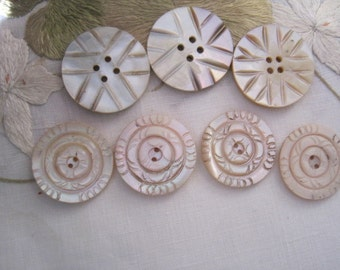 Lot of 7 Vintage Hand Carved Mother of Pearl Buttons Unusual