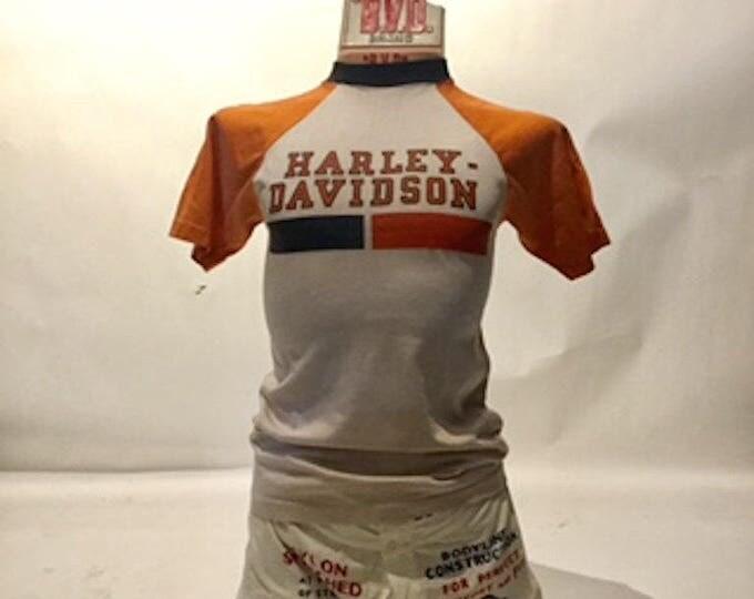 Vintage Harley Davidson Champion Blue Bar Rayon Tee Shirt 70's Made in USA (TS-1)