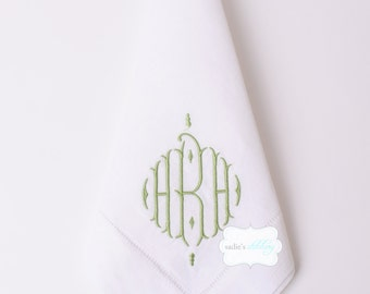 Hemstitched White Linen Dinner Napkins with Standard Monogram