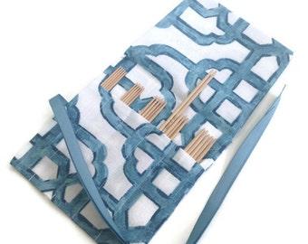 Sock Knitter's Needle Set 5 Inch DPNs Sizes 0, 1, 2, 3, 4 Clover Takumi Double Point Needles Blue Celtic Fabric Bamboo Needles