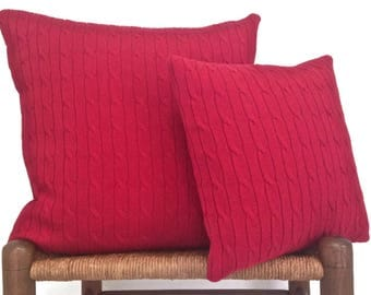 Knit Pillow Red Cable Knit Sweater Pillows Cotton Covers Set of Two 20-Inch and 14-Inch Cushion Covers Up Cycled Sweater Cottage Chic Style