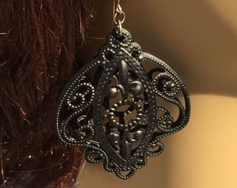 Large Victorian Goth Filgree Scrollwork Earrings