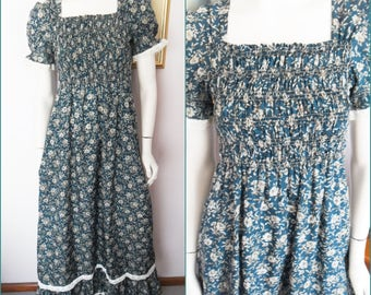 Vintage 70s Parisian Bottle Green Tan Floral Smocked Maxi Dress by Young Club.S/M.Bust 32-38.Waist 26-30