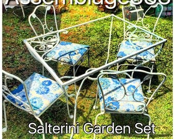 "Salterini Wrought Iron Table and Four Chairs / Salterini / 42""X 30"" / Chippy White Paint Absolutley Fabulous"