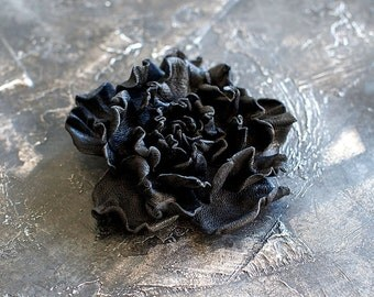 Black leather flower brooch, statement brooch, cocktail pin, leather jewelry, gift for her, leather flower, Rose brooch