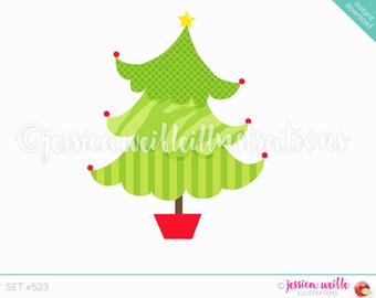 Instant Download Funky Pattern Christmas Tree Clip Art, Cute Digital Clipart, Christmas Tree Clip art, Christmas Tree Illustration, #523