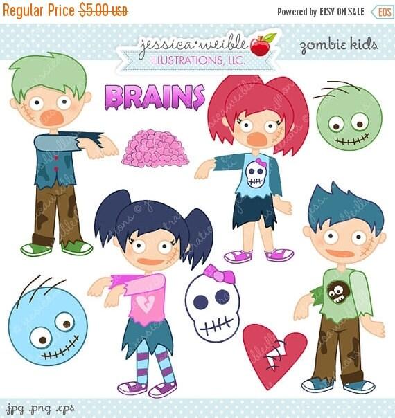 ON SALE Zombie Kids Cute Digital Clipart - Commercial Use OK - Zombie Graphics, Zombie Clipart, Digital Art, Halloween Clipart
