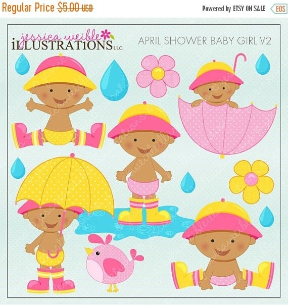 ON SALE April Shower Baby Girl V2 Cute Digital Clipart for Invitations, Card Design, Scrapbooking, and Web Design, Spring Clipart