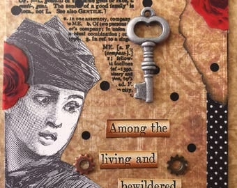 Among The Bewildered AcEo Original Artist Trading Card  Self Help Mixed Media ACEO Alteredhead On Etsy ATC Original Handmade Design On Etsy