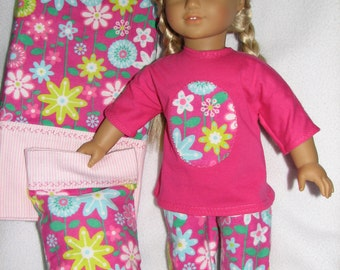 "18"" Doll  Pajamas /  matching doll pillowcase with pillow / matching girl pillowcase"