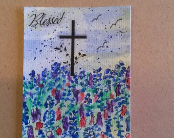 ACEO Tiny Watercolor Original Painting Easter Painting Artist Trading Cards Bluebonnets