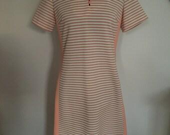 vintage 1970s scooter dress striped dress mod size medium peach cream MARCIA