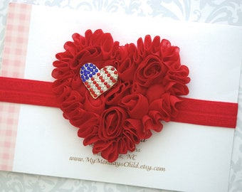 4th of July Baby Headband, 4th of July Headband, 4th of July Baby Girl, Heart Headband, Baby Headband, Toddler Headband, Baby Girl Headband