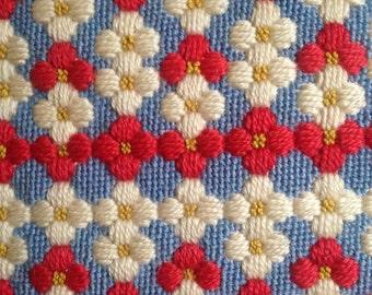 Vintage Needlepoint Embroidery Throw Pillow Flowers Velvet