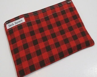 Reusable Sandwich And Or Snack Bag Red Plaid Woodland Snack Sandwich Bag