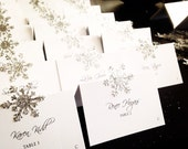20 Place Cards - Sparkly Glitter Snowflakes on White Escort Cards - Silver, Gold, Rose Gold Winter Wedding Event Shower Table Seating Cards