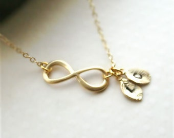 Infinity necklace gold, Personalized infinity necklace, Initial necklace, Infinity jewelry, Mothers gift, Best friend necklace, Gold filled