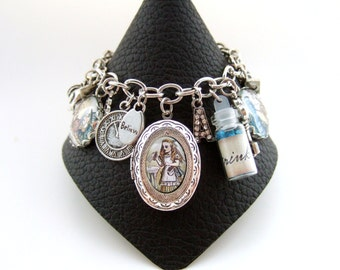 Alice in Wonderland Bracelet Alice in Wonderland Charm Bracelet Altered Art Bracelet Alice in Wonderland Jewelry Alice Jewelry