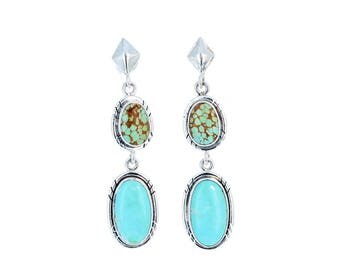 SKY BLUE TURQUOISE Earrings Sterling Silver Blue and Green Ovals NewWorldGems