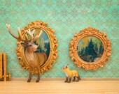 Deer and fox art, surreal woodland animal diorama: Pop Art