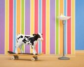 Skateboarding cow print for kids, nursery decor, colorful wall art: Goofy Hoof