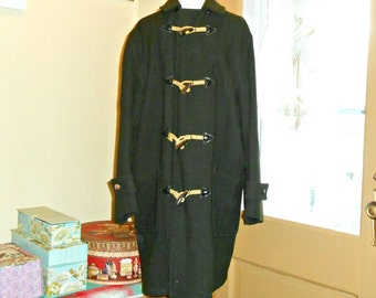 Green Wool Coat Vintage Woolrich Mens Wool Coat 40s Coat Toggle Coat
