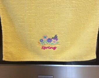Embroidered kitchen towel~Spring