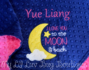 Large personalized minky baby blanket- midnight blue fuchsia pink and yellow- I Love You to the moon and back- stroller blanket