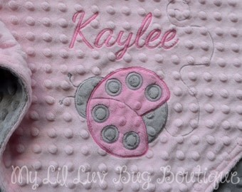 Large personalized baby blanket- Ladybug baby blanket pink and grey- stroller blanket- name baby blanket
