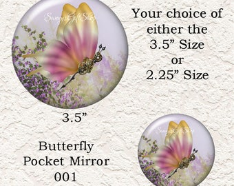 Steampunk Butterfly Pocket Mirror Choose From 2 Different Print And Size Black Velour Drawstring Pouch Buy 3 Mirrors Get 1 Mirror Free  375