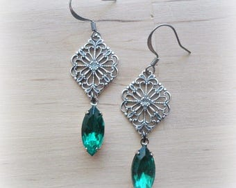 Emerald Rhinestone Earrings Filigree Earrings Medieval Jewelry Emerald Green Earrings Victorian Green Jewelry Emerald Jewelry