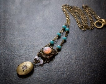 Opal Turquoise Necklace Assemblagel Oval Locket Rhinestone Vintage Antique Brass Figaro Chain Upcycled Repurposed Retro Rosary Chain