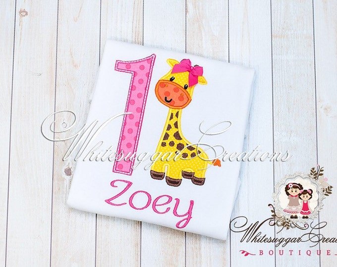 Girl 1st Birthday Shirt - Giraffe Birthday Shirt - Animal Zoo Theme Party - PREMIUM Custom Personalized Birthday - Baby Girl Outfit